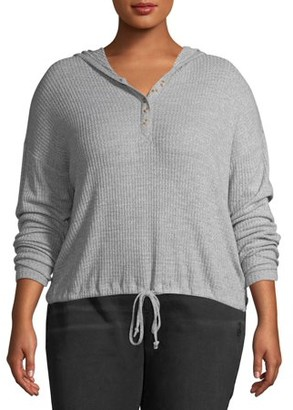 No Boundaries Juniors' Plus Size Brushed Waffle Hooded Henley