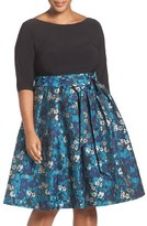 Adrianna Papell Jersey & Jacquard Fit & Flare Dress (Plus Size)