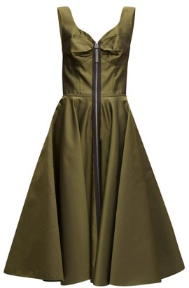 Marni Zip-through Bustier-inspired Twill Midi Dress - Womens - Green