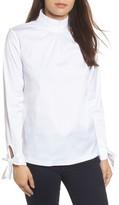 Halogen Petite Women's Tie Sleeve Poplin Shirt