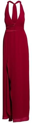 Halston Asymmetric Drape Sleeveless V-Neck Gown