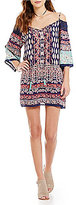 Angie Border Print Cold Shoulder Bell-Sleeve Shift Dress