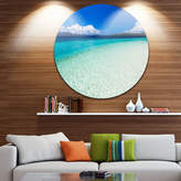 DESIGNART Design Art Vacant Beach with Turquoise Water UltraVibrant Seascape Metal Circle Wall Art