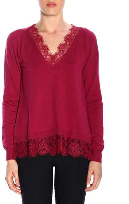 Twin-Set TWIN SET Sweater Long-sleeved Shirt With Lace Trim