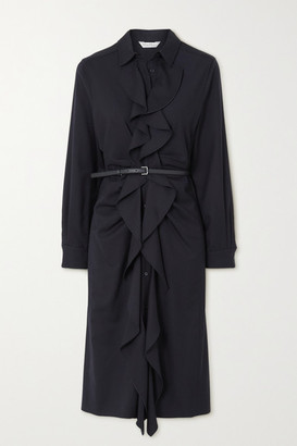 Max Mara Riom Belted Ruffled Wool-twill Dress - Navy