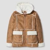 Urban Republic Girls' Sherling Jacket with Hood - Caramel Tan
