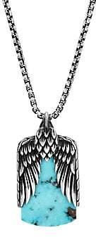 John Hardy Men's Legends Eagle Silver Dog Tag Pendant Box Chain Necklace