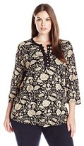 Lucky Brand Women's Plus Size Black Floral Top