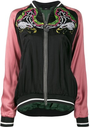 Diesel embellished bomber jacket in satin