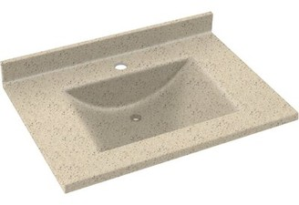 "Swan Contour Solid Surface 31"" Single Bathroom Vanity Top Top Finish: Tahiti Sand"