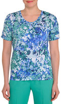 Allison Daley Petite Monet-Print Soutache Top