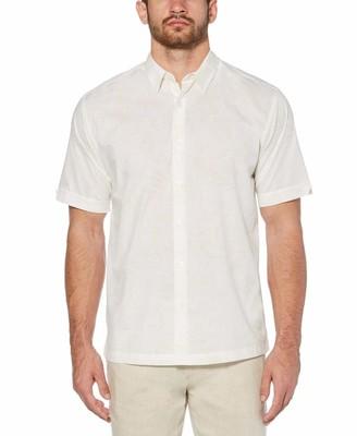 Cubavera Bold tropical leaf pattern shirt