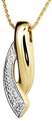 Diamond Line Women 9 k (375) Yellow Gold Round White Diamond