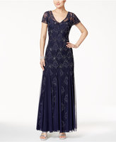 Adrianna Papell V-Neck Beaded Lace Gown