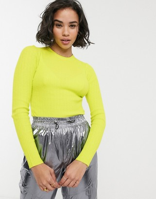 Bershka vertical ribbed fitted jumper in lime green