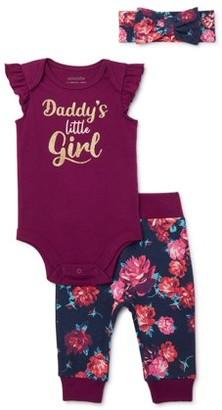 Miniville Baby Girl Daddy's Little Princess Bodysuit, Pant & Headband Outfit, 3-pc Set