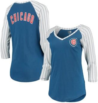 New Era Women's Royal Chicago Cubs Pinstripe Raglan 3/4-Sleeve V-Neck T-Shirt