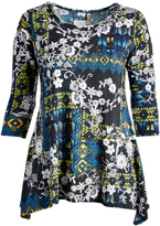 Glam White & Green Floral Sidetail Tunic - Plus