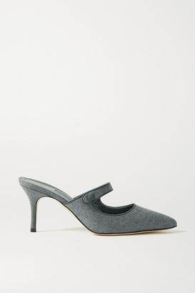 Manolo Blahnik Camparimu Grosgrain-trimmed Wool Mules - Gray