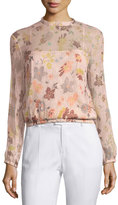 RED Valentino Long-Sleeve Sheer Floral-Print Lurex®; Combo Blouse