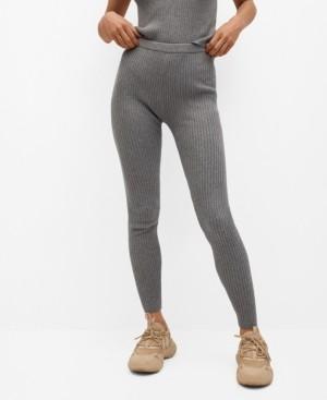 MANGO Women's Ribbed Knit Trousers