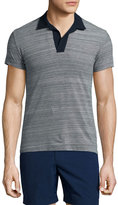 Orelebar Brown Felix Johnny-Collar Melange Polo Shirt, Navy