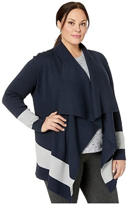 Lauren Ralph Lauren Plus Size Color-Blocked Cotton Cardigan (Lauren Navy/Pearl Grey Heather) Women's Clothing