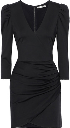 Alice + Olivia Judy Wrap-effect Ruched Stretch-jersey Mini Dress