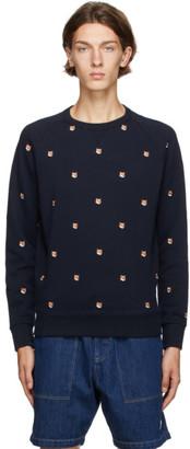 MAISON KITSUNÉ Navy Embroidered Fox Head Sweatshirt