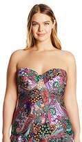 Kenneth Cole Reaction Women's Plus Size Gypsy Gem Paisley Underwire Swimsuit Tankini Top with Bust Seam Detail