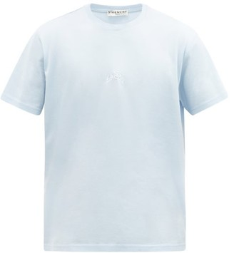 Givenchy Refracted-embroidered Cotton-jersey T-shirt - Blue