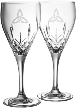 Belleek Pottery Trinity White Wine Glass Pair