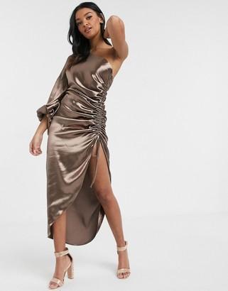 Asos Design DESIGN one shoulder ruched midi dress