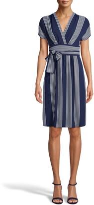 Anne Klein Stripe Faux Wrap Dress