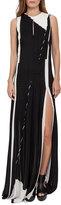 Akris Equation-Print Pleated Keyhole Sleeveless Gown, Black/Blanco
