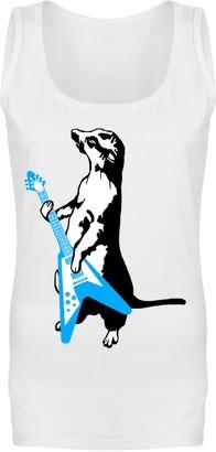 Flip Womens Meerkat Playing Guitar Funny Rock Music Vest Tank Top White UK 10 (M)
