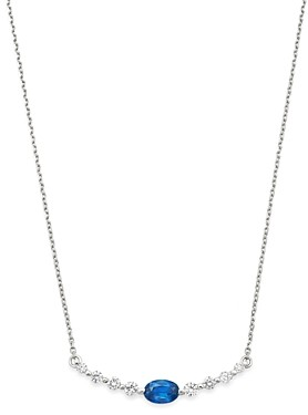 Bloomingdale's Blue Sapphire & Diamond Bar Necklace in 14K White Gold, 16 - 100% Exclusive