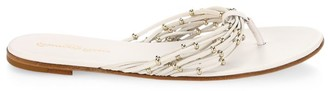Gianvito Rossi Beaded Leather Thong Sandals