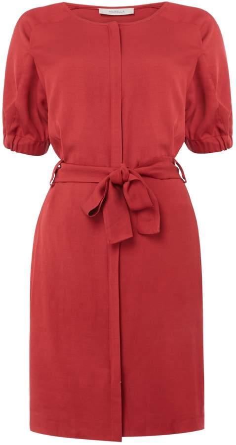 Marella Dial zip up dress with tie waist dress