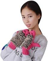 ABC Gloves, Women's Gloves, Women's Autumn Winter Knitted Gloves Cartoon Hedgehog Mittens