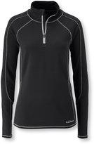 L.L. Bean Women's Polartec Power Dry Stretch Base Layer, Midweight Quarter-Zip