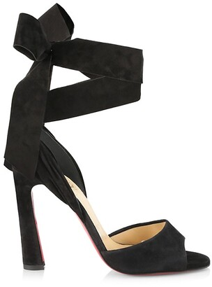 Christian Louboutin Rose Amelie Ankle-Tie Suede Sandals