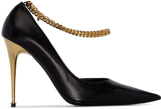 Tom Ford 105mm Chain-Trimmed Leather Pumps