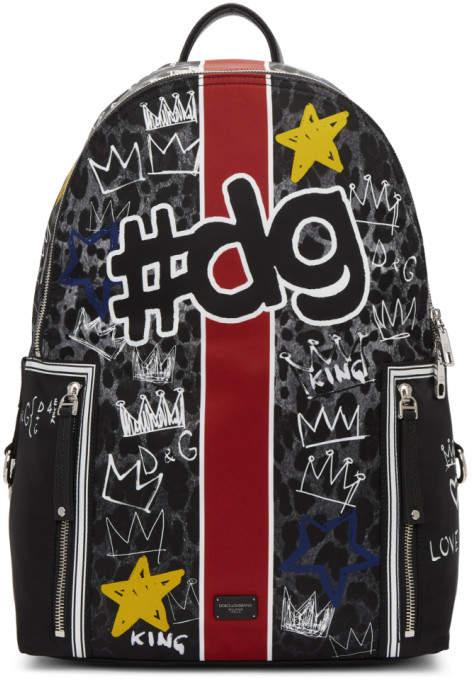 Dolce & Gabbana Black Paint Detail Backpack