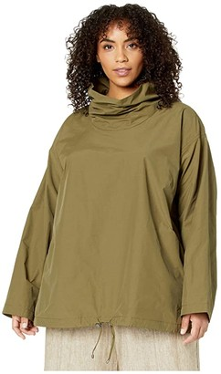 Eileen Fisher Plus Size Light Organic Drape Neck Pullover (Olive) Women's Clothing