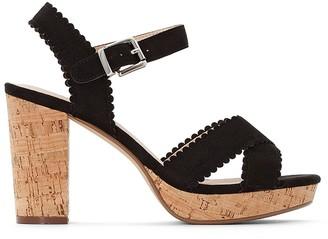 Castaluna Plus Size Wide Fit Faux Suede High Heel Sandals