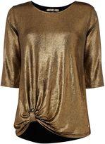 Biba Metallic knot hem detail short sleeve t-shirt