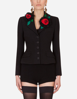 Dolce & Gabbana Short Single-Breasted Jacket With Rose Appliques