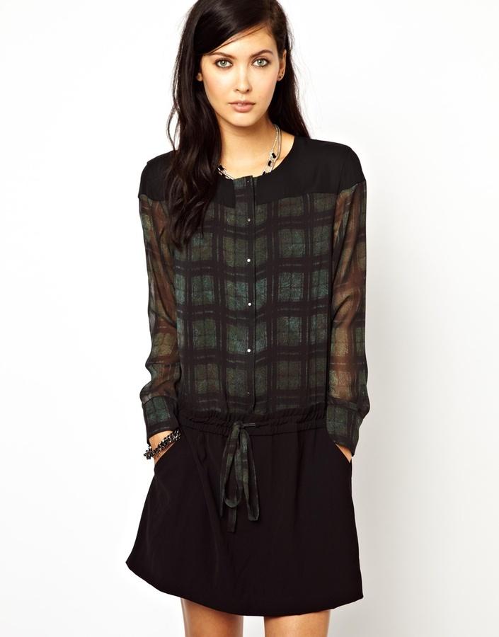 Edun Silk Shirtdress with Drawstring in Plaid Fern Print