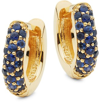 Danni 14K Yellow Gold & Pave Blue Sapphire Hoop Earrings